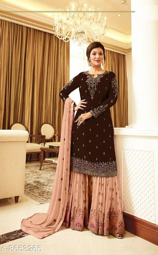 Maroon Women's Faux Georgette Embroidered Semi Stitched Sharara Suit