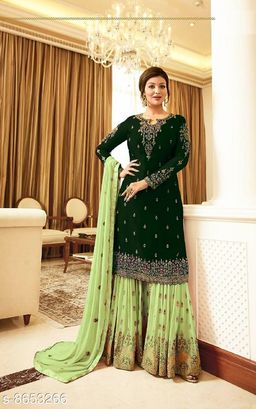 Green Women's Faux Georgette Embroidered Semi Stitched Sharara Suit