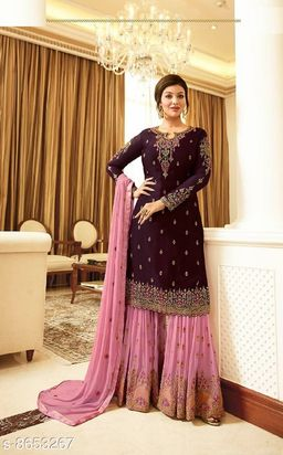 Pink Women's Faux Georgette Embroidered Semi Stitched Sharara Suit