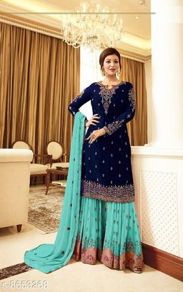 Blue Women's Faux Georgette Embroidered Semi Stitched Sharara Suit