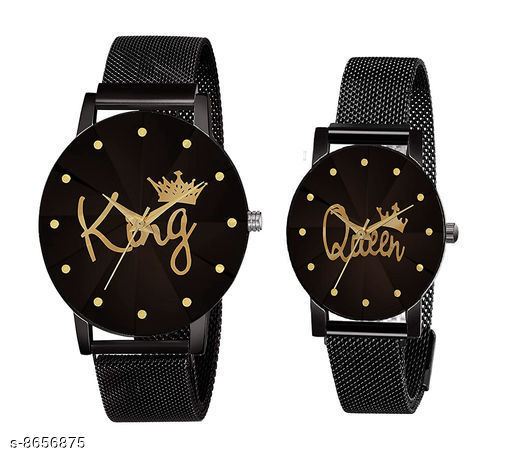Stylish King-Queen Couple Wrist Watch For Boys&Girls And Men&Womens
