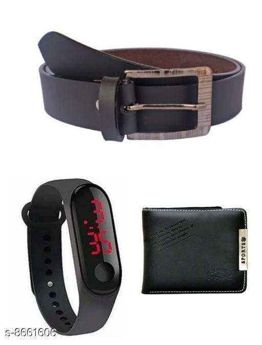 Belts Men Belt  *Material* Wallet & belt leatherite , led plastic  *Multipack* Pack Of 3  *Sizes*   *28 (Waist Size* 28 in, Belt Length Size  *30 (Waist Size* 30 in, Belt Length Size  *32 (Waist Size* 32 in, Belt Length Size  *34 (Waist Size* 34 in, Belt Length Size  *Sizes Available* 28 *    Catalog Name: Fashionable Latest Men Belts CatalogID_1473525 C65-SC1222 Code: 843-8661606-