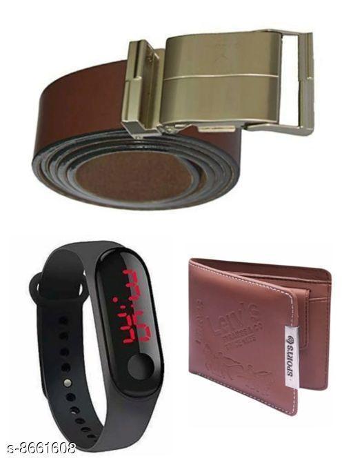 Belts Men Belt  *Material* Wallet & belt leatherite , led plastic  *Multipack* Pack Of 3  *Sizes*   *28 (Waist Size* 28 in, Belt Length Size  *30 (Waist Size* 30 in, Belt Length Size  *32 (Waist Size* 32 in, Belt Length Size  *34 (Waist Size* 34 in, Belt Length Size  *Sizes Available* 28 *    Catalog Name: Fashionable Latest Men Belts CatalogID_1473525 C65-SC1222 Code: 843-8661608-