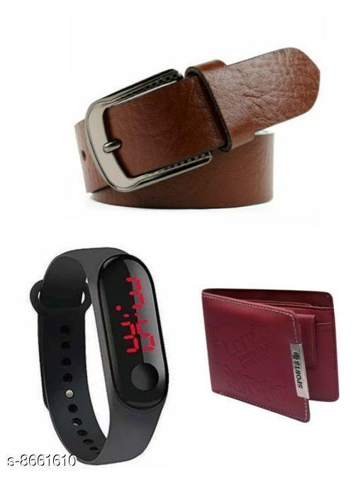 Belts Men Belt  *Material* Wallet & belt leatherite , led plastic  *Multipack* Pack Of 3  *Sizes*   *28 (Waist Size* 28 in, Belt Length Size  *30 (Waist Size* 30 in, Belt Length Size  *32 (Waist Size* 32 in, Belt Length Size  *34 (Waist Size* 34 in, Belt Length Size  *Sizes Available* 28 *    Catalog Name: Fashionable Latest Men Belts CatalogID_1473525 C65-SC1222 Code: 843-8661610-