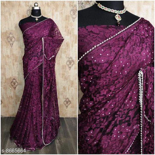 Amazing Net Saree With Blouse Piece For Women's