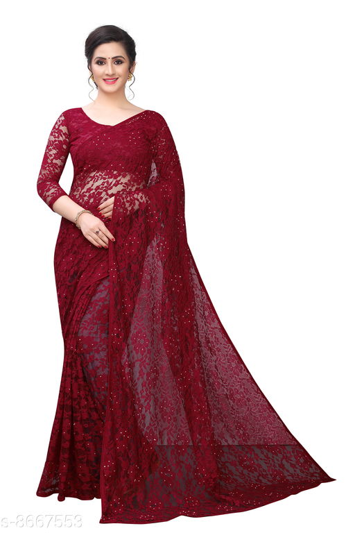 Adorable Net Saree With Blouse Piece For Women