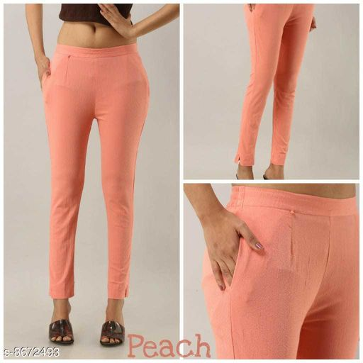 Trousers & Pants Peach Stylish Royal Lycra Ladies Trousers  *Fabric* Rayon  *Sizes*  32  *Sizes Available* 32 *    Catalog Name: Trendy Modern Women Women Trousers  CatalogID_1476049 C79-SC1034 Code: 594-8672493-