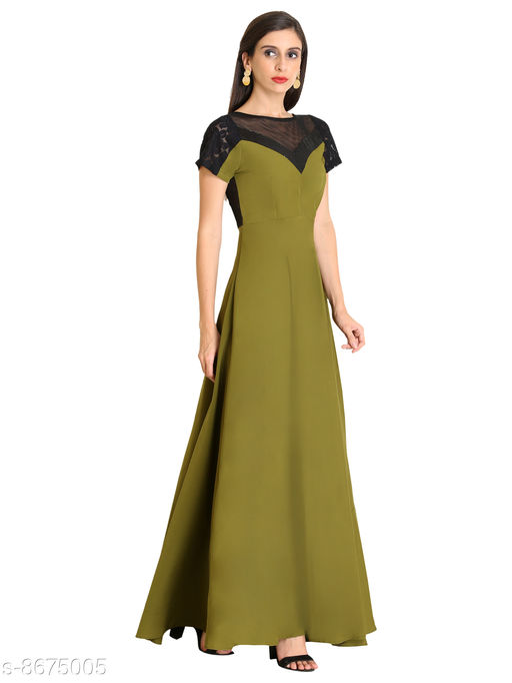 Raas Women's Crepe Mehendi Green Sheer Net & Lace back detail Maxi Gown Dress