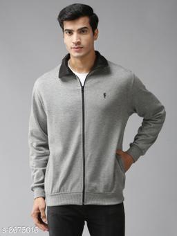 EPPE Men's Full Sleeve Grey-Black Polycotton Fleece Zipper Sweatshirt
