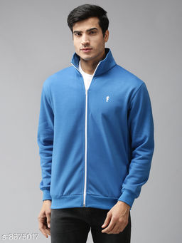 EPPE Men's Full Sleeve Royal Blue Polycotton Fleece Zipper Sweatshirt