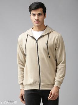 EPPE Men's Full Sleeves Beige Polycotton Fleece Zipper Hoddie Sweatshirt