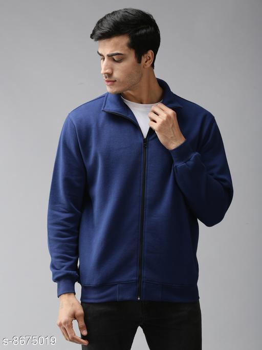 EPPE Men's Full Sleeve Ink Blue Polycotton Fleece Zipper Sweatshirt