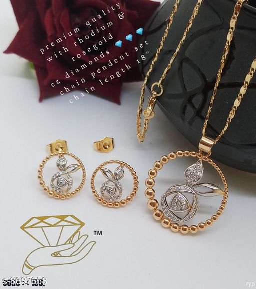 Jewellery Set New Women's Jewellery set's Pendant With Chain  *Base Metal* Brass  *Plating* Gold Plated  *Stone Type* American Diamond  *Sizing* Adjustable  *Length* Pendant With Chain - 18 in  *Multipack* 1  *Description* It Has 1 Piece Of Women's Pendant With Chain & 1 Pair of Earrings  *Sizes Available* Free Size *    Catalog Name: Diva Elegant Jewellery Sets CatalogID_1479447 C77-SC1093 Code: 562-8687658-