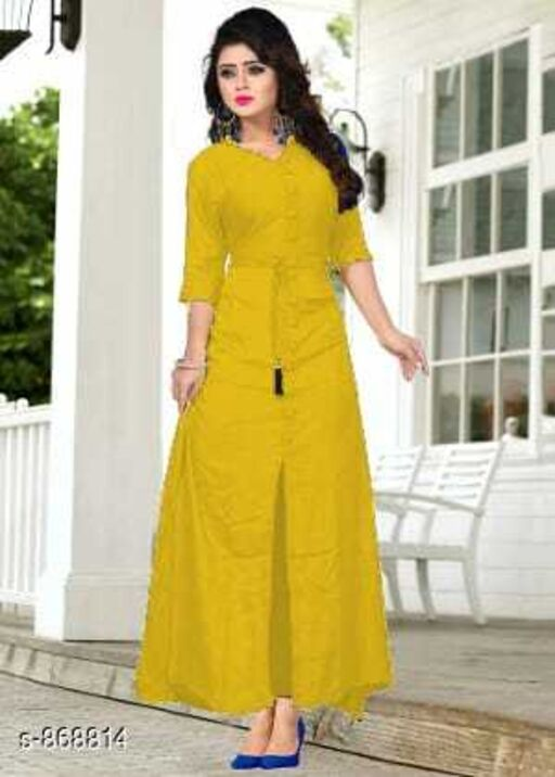 Kurtis & Kurtas Fashionable Designer Rayon Long Kurti  *Fabric* Rayon  *Sleeves* 3/4 Sleeves Are Included  *Size* S - 36 in, M - 38 in, L - 40 in, XL - 42 in, XXL - 44 in  *Length* Up To 48 in  *Type* Stitched  *Description* It Has 1 Piece Of Long Kurti  *Pattern* Solid  *Sizes Available* S, M, L, XL, XXL This product has very limited stock. Order fast! *    Catalog Name: Drishya Designer Rayon Long Kurtis Vol 2 CatalogID_100985 C74-SC1001 Code: 273-868814-