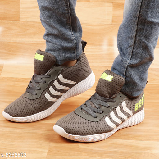 BEET LOOKS Grey and Green Men's Comfortable & Lightweight Sports Shoes