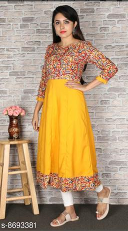 Women Crepe Anarkali Printed Yellow Kurti