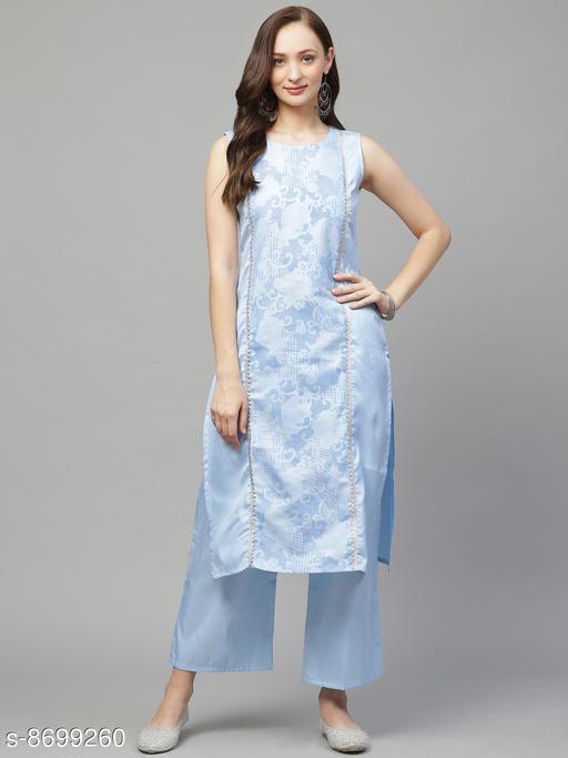 Ziyaa Women's Sky Blue Poly Silk Khadi Straight Kurta