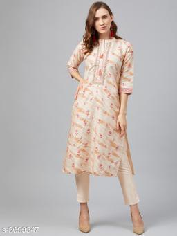 Ziyaa Women's Cream Poly Silk Khadi Straight Kurta