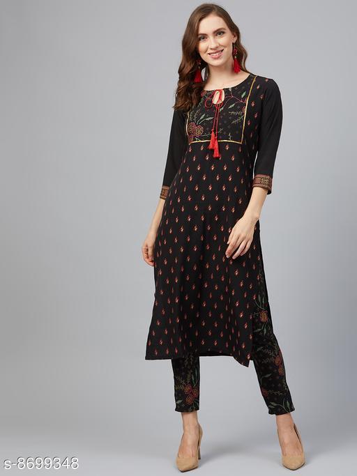 Women's Black Printed Crepe Kurti