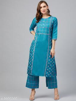 Ziyaa Women's Peacock Blue Poly Silk Khadi Straight Kurta