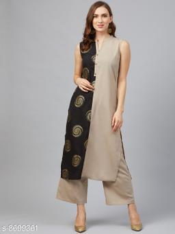 Ziyaa Women's Light Grey Crepe Foil Printed Straight Kurta