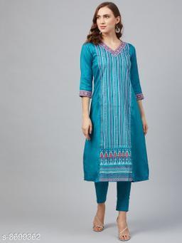 Ziyaa Women's Peacock Blue Poly Silk Khadi A-Line Kurta