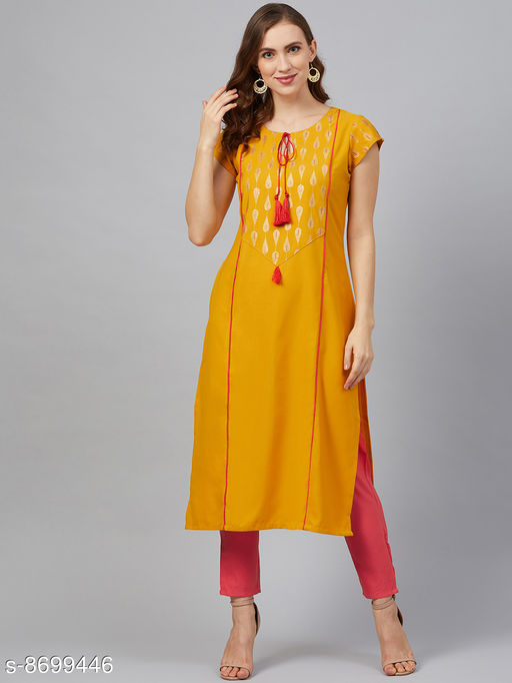 Women Rayon A-line Printed Mustard Kurti