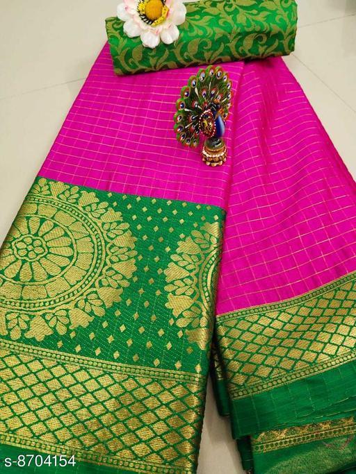 Trendy Soft Cotton silk Pink Green saree with Zalar Pallu