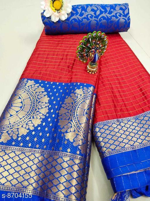 Trendy Soft Cotton silk Red saree with Zalar Pallu
