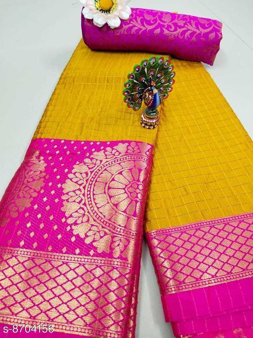 Trendy Soft Cotton silk Yellow Pink saree with Zalar Pallu