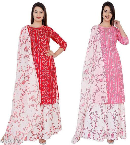 Kurtis & Kurtas Traditional Bandhej Kurti Set Combo   *Fabric* Rayon  *Sleeve Length* Three-Quarter Sleeves  *Pattern* Printed  *Combo of* Combo of 4  *Sizes*   *XL (Bust Size* 42 in, Size Length  *XXL (Bust Size* 44 in, Size Length  *M (Bust Size* 38 in, Size Length  *L (Bust Size* 40 in, Size Length  *Sizes Available* M, L, XL, XXL *    Catalog Name: Aishani Attractive Kurtis CatalogID_1483383 C74-SC1001 Code: 2121-8704829-9991