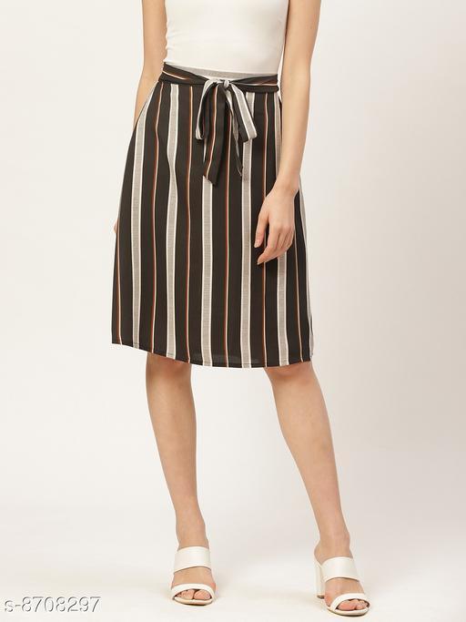 Style Quotient Women Black & Beige Striped A-Line Midi Skirt