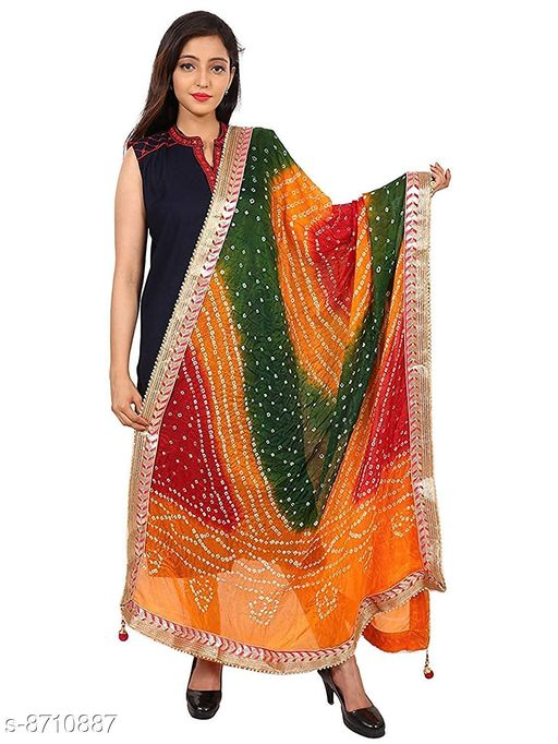 Stylish Bandhej Dupatta with Border Lace for Women