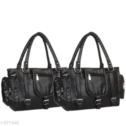 Handbags Mountrex Present This Black Color Premium Quality stylish girl handbag for girls fashion HandBags ( PACK OF 2 )  *Material* PU  *No. of Compartments* 2  *Pattern* Solid  *Type* Handheld  *Multipack* 2  *Sizes* Free Size (Length Size Mountrex Present This Blue Color Premium Quality stylish girl handbag for girls fashion HandBags ( PACK OF 2 ) ***** Attractive and Elegant -Women Hand Bag is a combination of elegance and durability. It portrays a chic and eye-catchy look and will undoubtedly add a layer of sophistication to your personality. Hand bags for women are perfect accessory to invest in! Suitable for everyday use - handbags are inspired from latest trends and fad. From college to office and parties to shopping, you can carry it anywhere in a hassle free manner and spruce up your overall look. These women bags lend a chic and stylish look. Flaunt your feminine charm and stand out from the crowd! Women fashion Handbags are capacious enough to store all your daily belongings such as lipsticks, documents, cards and other cosmetic materials. Carry your world in style with this PU leather Handbag.  *Sizes Available* Free Size *    Catalog Name: Graceful Classy Women Handbags CatalogID_1484854 C73-SC1073 Code: 236-8711242-9951