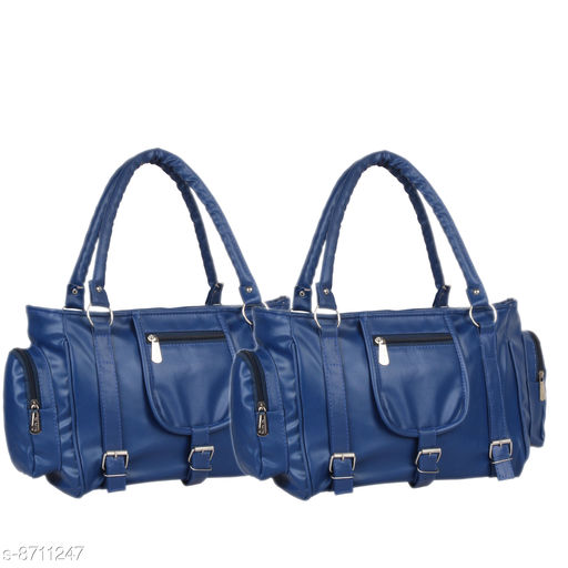 Handbags Mountrex Present This Blue Color Premium Quality stylish girl handbag for girls fashion HandBags ( PACK OF 2 )  *Material* PU  *No. of Compartments* 2  *Pattern* Solid  *Type* Handheld  *Multipack* 2  *Sizes* Free Size (Length Size Mountrex Present This Blue Color Premium Quality stylish girl handbag for girls fashion HandBags ( PACK OF 2 ) ***** Attractive and Elegant -Women Hand Bag is a combination of elegance and durability. It portrays a chic and eye-catchy look and will undoubtedly add a layer of sophistication to your personality. Hand bags for women are perfect accessory to invest in! Suitable for everyday use - handbags are inspired from latest trends and fad. From college to office and parties to shopping, you can carry it anywhere in a hassle free manner and spruce up your overall look. These women bags lend a chic and stylish look. Flaunt your feminine charm and stand out from the crowd! Women fashion Handbags are capacious enough to store all your daily belongings such as lipsticks, documents, cards and other cosmetic materials. Carry your world in style with this PU leather Handbag.  *Sizes Available* Free Size *    Catalog Name: Graceful Classy Women Handbags CatalogID_1484854 C73-SC1073 Code: 236-8711247-9951