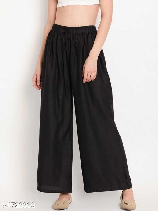 Women's/Girls Wide Leg Printed Crepe Palazzo/Trouser with Linning and Pocket