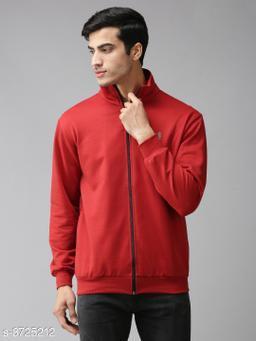 EPPE Men's Full Sleeve Red Polycotton Fleece Zipper Sweatshirt