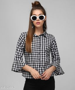 MASK+ WHITE SHORT CHECK BELL SLEEVE TOP