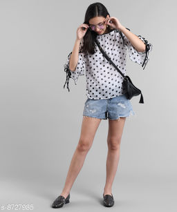 MASK+019 WHITE DOTTED OFF SHOULDER KNOTES TOP