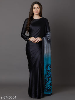 Saree Mall Black & Blue Festive Crepe Printed Saree With Unstitched Blouse