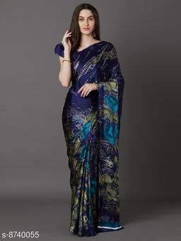 Saree Mall Blue Festive Crepe Printed Saree With Unstitched Blouse