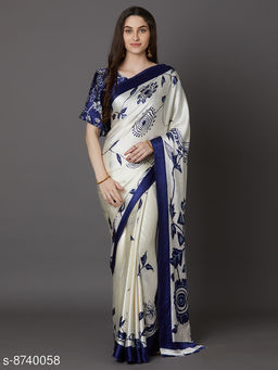 Saree Mall Off White & Blue Festive Crepe Printed Saree With Unstitched Blouse