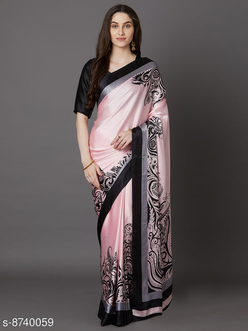 Saree Mall Pink Festive Crepe Printed Saree With Unstitched Blouse