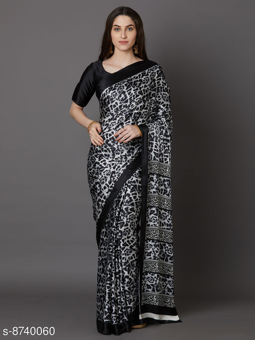 Saree Mall Black Festive Crepe Printed Saree With Unstitched Blouse