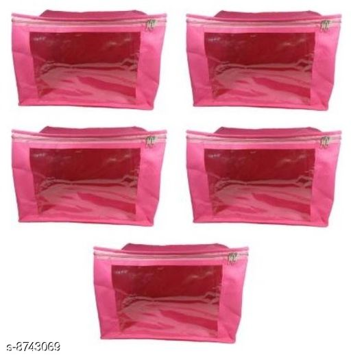 Pack of 5 Multipurpose Ladies Large 9 inch Non-Woven saree Cover Storage Organizer Bag, Garment Cover (PINK)