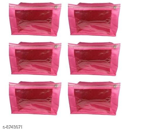 Pack of 6 Multipurpose Ladies Large 9 inch Non-Woven saree Cover Storage Organizer Bag, Garment Cover (PINK)