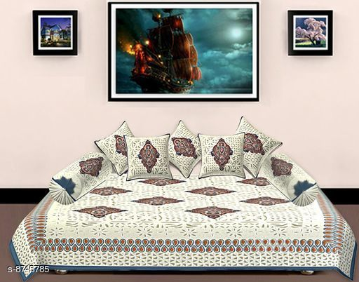 Diwan Sets Diwan Sets  *Bedsheet Fabric* Cotton  *No. of Bedsheets* 1  *No. of Bolster Covers* 2  *No. of Cushion Covers* 5  *Multipack* 1  *Sizes*  Free Size  *Sizes Available* Free Size *    Catalog Name: Ravishing Alluring Diwan Sets CatalogID_1492888 C117-SC1107 Code: 309-8745785-