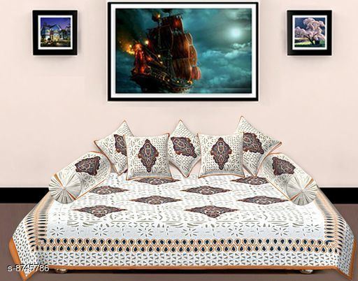Diwan Sets Diwan Sets  *Bedsheet Fabric* Cotton  *No. of Bedsheets* 1  *No. of Bolster Covers* 2  *No. of Cushion Covers* 5  *Multipack* 1  *Sizes*  Free Size  *Sizes Available* Free Size *    Catalog Name: Ravishing Alluring Diwan Sets CatalogID_1492888 C117-SC1107 Code: 309-8745786-