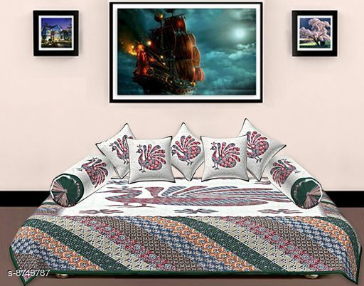 Diwan Sets Diwan Sets  *Bedsheet Fabric* Cotton  *No. of Bedsheets* 1  *No. of Bolster Covers* 2  *No. of Cushion Covers* 5  *Multipack* 1  *Sizes*  Free Size  *Sizes Available* Free Size *    Catalog Name: Ravishing Alluring Diwan Sets CatalogID_1492888 C117-SC1107 Code: 309-8745787-