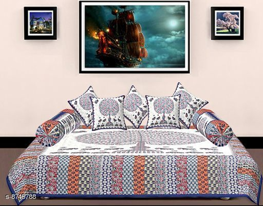 Diwan Sets Diwan Sets  *Bedsheet Fabric* Cotton  *No. of Bedsheets* 1  *No. of Bolster Covers* 2  *No. of Cushion Covers* 5  *Multipack* 1  *Sizes*  Free Size  *Sizes Available* Free Size *    Catalog Name: Ravishing Alluring Diwan Sets CatalogID_1492888 C117-SC1107 Code: 309-8745788-